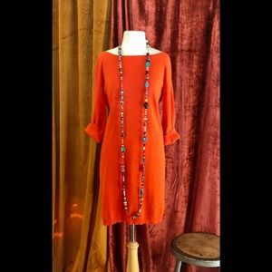 JOAN VASS ORANGE CORAL SWEATER DRESS  SOFT COMFY